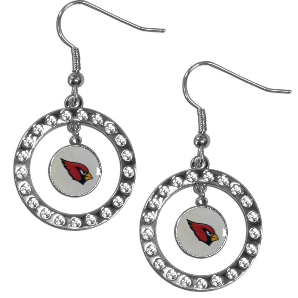 Arizona Cardinals Rhinestone Hoop Earrings - Our officially licensed rhinestone hoop earrings comes on an hypo-allergenic fishhook posts  and features a hoop covered in rhinestones with a high polish chrome finish and a Arizona Cardinals logo dangling in the center.