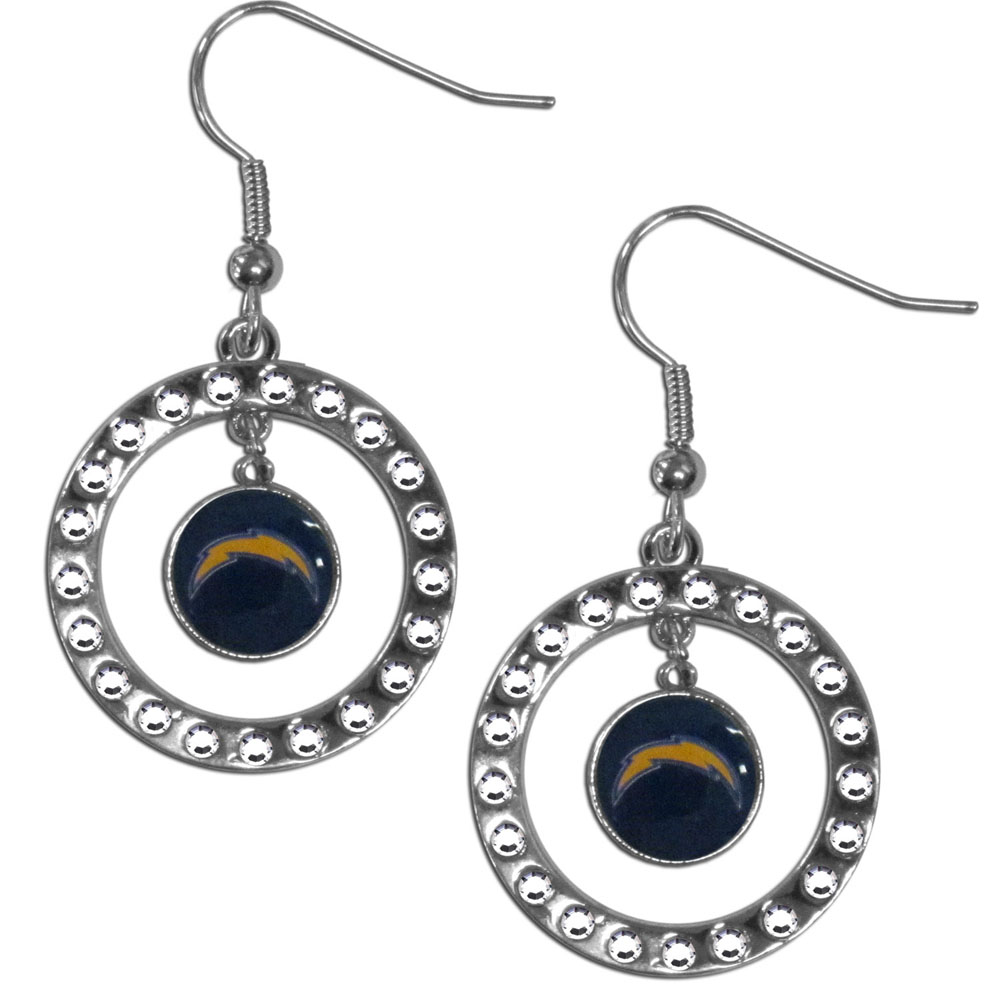 Los Angeles Chargers Rhinestone Hoop Earrings - Our officially licensed rhinestone hoop earrings comes on an hypo-allergenic fishhook posts  and features a hoop covered in rhinestones with a high polish chrome finish and a Los Angeles Chargers logo dangling in the center.