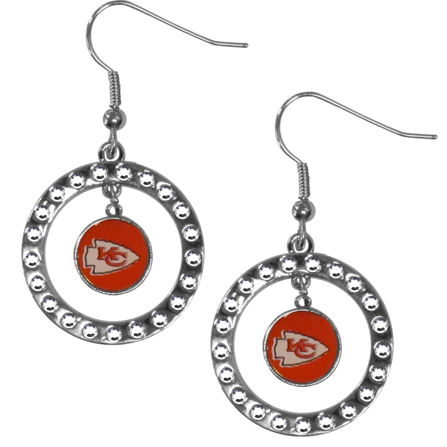 Kansas City Chiefs Rhinestone Hoop Earrings - Our officially licensed rhinestone hoop earrings comes on an hypo-allergenic fishhook posts  and features a hoop covered in rhinestones with a high polish chrome finish and a Kansas City Chiefs logo dangling in the center.