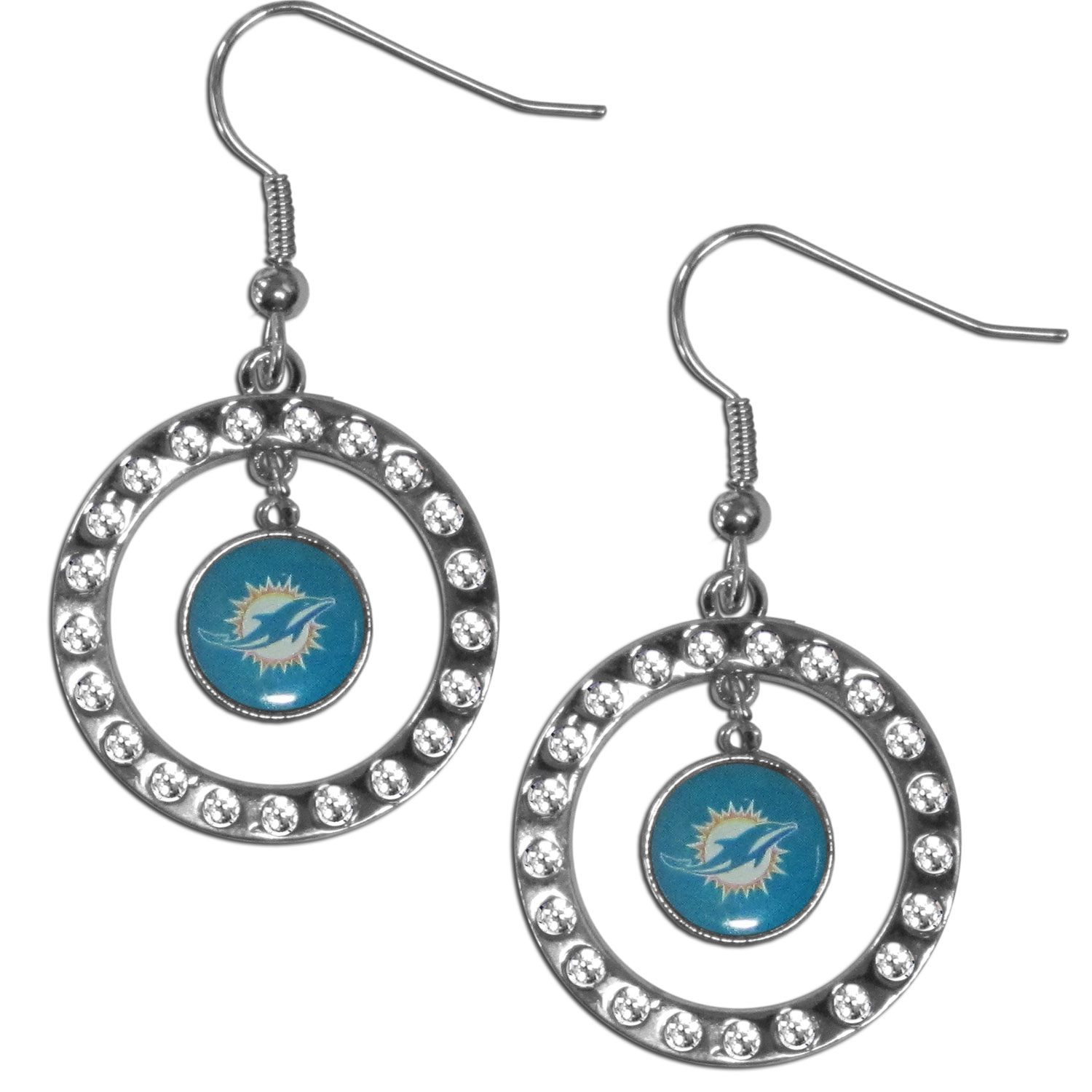 Miami Dolphins Rhinestone Hoop Earrings - Our officially licensed rhinestone hoop earrings comes on an hypo-allergenic fishhook posts  and features a hoop covered in rhinestones with a high polish chrome finish and a Miami Dolphins logo dangling in the center.