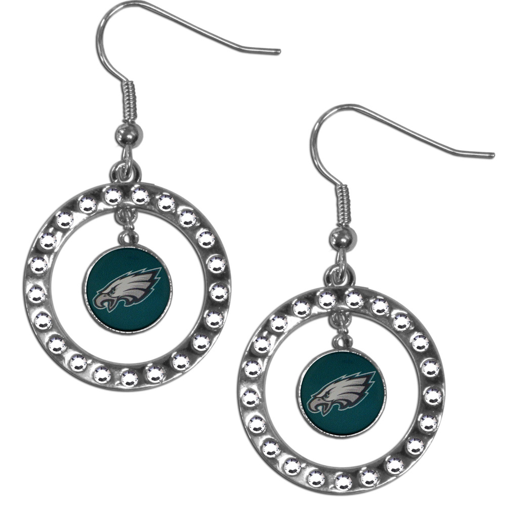 Philadelphia Eagles Rhinestone Hoop Earrings - Our officially licensed rhinestone hoop earrings comes on an hypo-allergenic fishhook posts  and features a hoop covered in rhinestones with a high polish chrome finish and a Philadelphia Eagles logo dangling in the center.