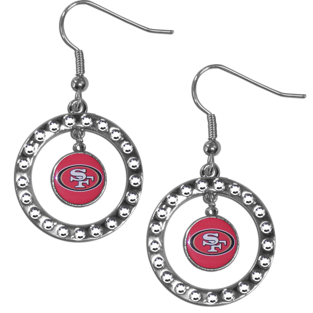 San Francisco 49ers Rhinestone Hoop Earrings - Our officially licensed rhinestone hoop earrings comes on an hypo-allergenic fishhook posts  and features a hoop covered in rhinestones with a high polish chrome finish and a San Francisco 49ers logo dangling in the center.