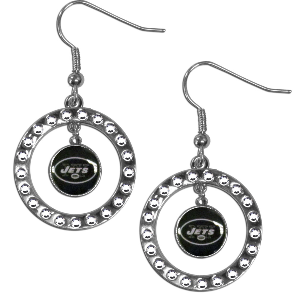 New York Jets Rhinestone Hoop Earrings - Our officially licensed rhinestone hoop earrings comes on an hypo-allergenic fishhook posts  and features a hoop covered in rhinestones with a high polish chrome finish and a New York Jets logo dangling in the center.