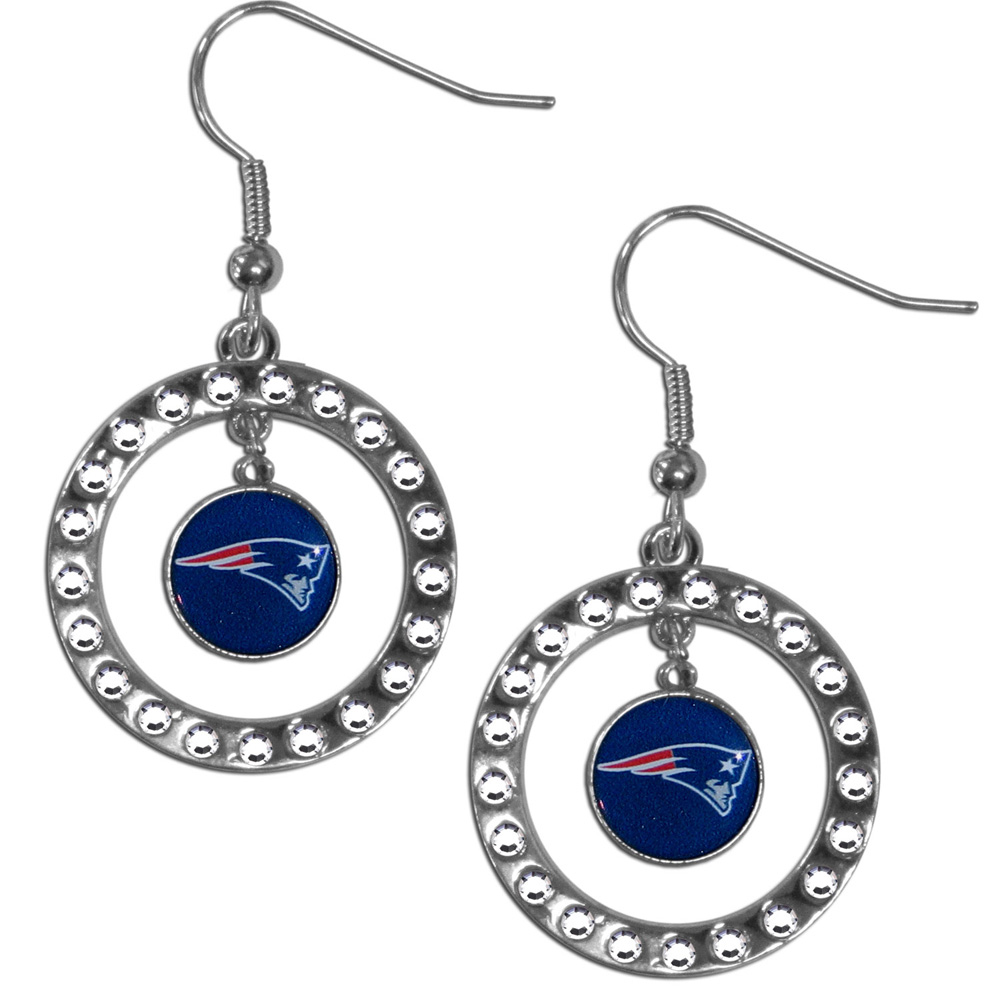 New England Patriots Rhinestone Hoop Earrings - Our officially licensed rhinestone hoop earrings comes on an hypo-allergenic fishhook posts  and features a hoop covered in rhinestones with a high polish chrome finish and a New England Patriots logo dangling in the center.