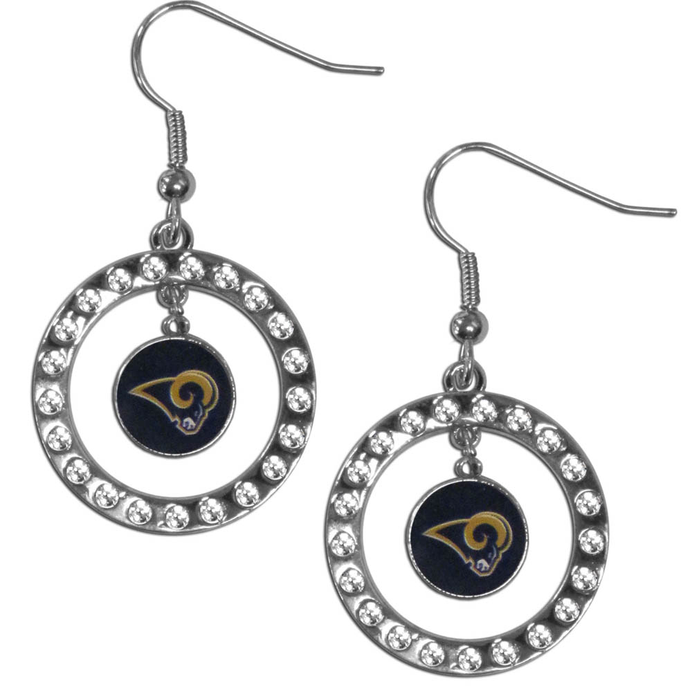 St. Louis Rams Rhinestone Hoop Earrings - Our officially licensed rhinestone hoop earrings comes on an hypo-allergenic fishhook posts  and features a hoop covered in rhinestones with a high polish chrome finish and a St. Louis Rams logo dangling in the center.