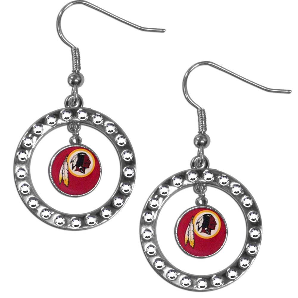 Washington Redskins Rhinestone Hoop Earrings