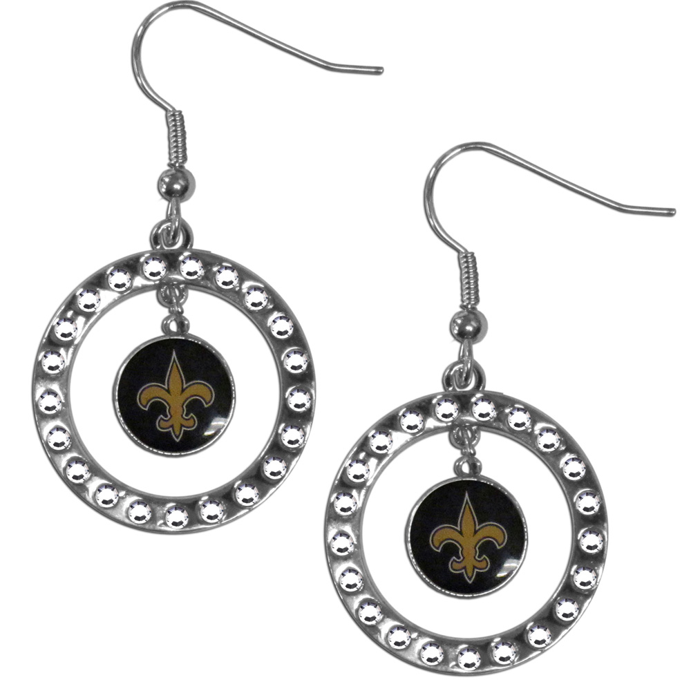 New Orleans Saints Rhinestone Hoop Earrings - Our officially licensed rhinestone hoop earrings comes on an hypo-allergenic fishhook posts  and features a hoop covered in rhinestones with a high polish chrome finish and a New Orleans Saints logo dangling in the center.