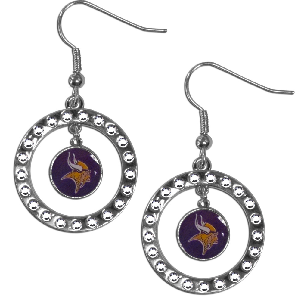 Minnesota Vikings Rhinestone Hoop Earrings - Our officially licensed rhinestone hoop earrings comes on an hypo-allergenic fishhook posts  and features a hoop covered in rhinestones with a high polish chrome finish and a Minnesota Vikings logo dangling in the center.