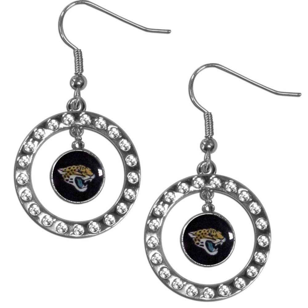 Jacksonville Jaguars Rhinestone Hoop Earrings - Our officially licensed rhinestone hoop earrings comes on an hypo-allergenic fishhook posts  and features a hoop covered in rhinestones with a high polish chrome finish and a Jacksonville Jaguars logo dangling in the center.