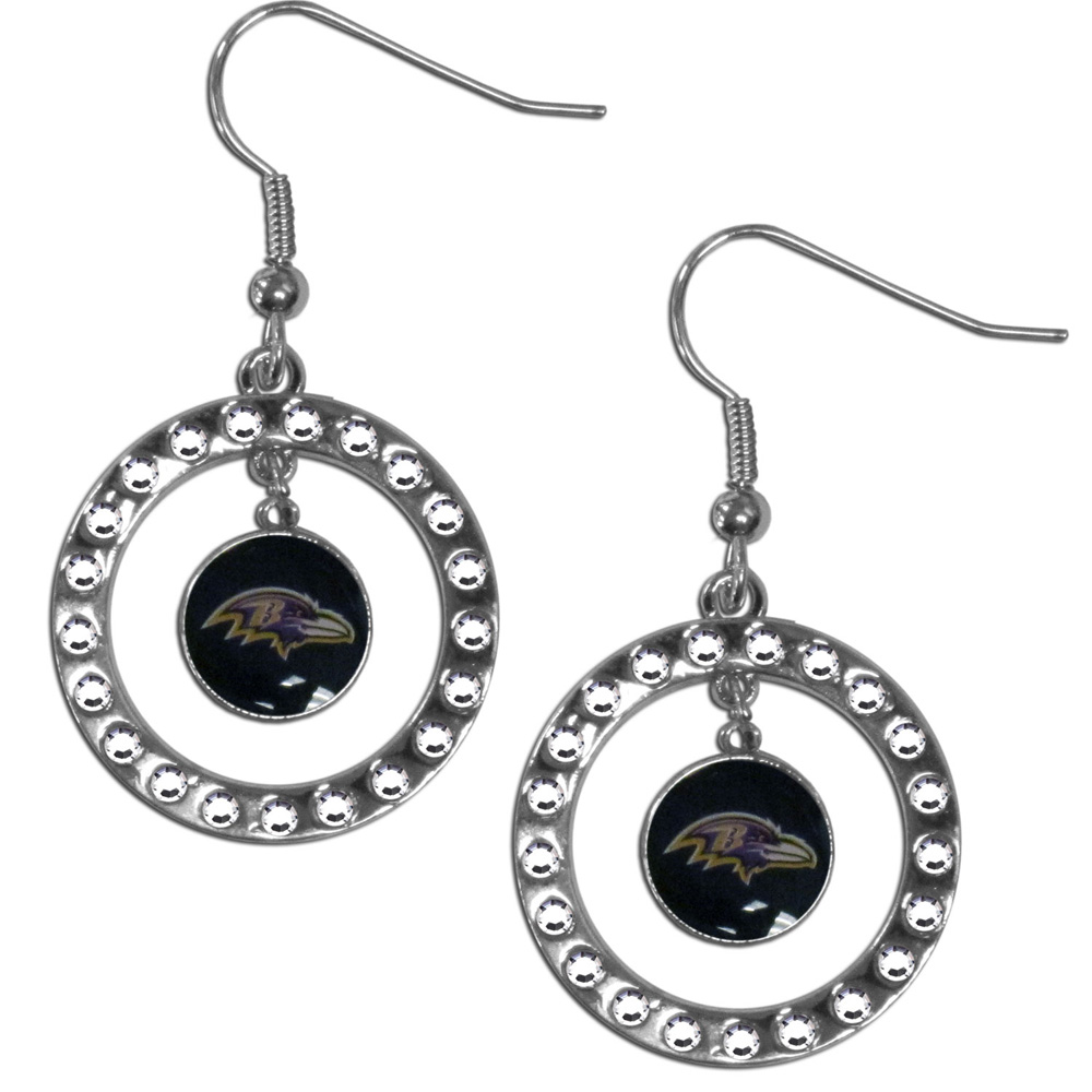 Baltimore Ravens Rhinestone Hoop Earrings - Our officially licensed rhinestone hoop earrings comes on an hypo-allergenic fishhook posts  and features a hoop covered in rhinestones with a high polish chrome finish and a Baltimore Ravens logo dangling in the center.