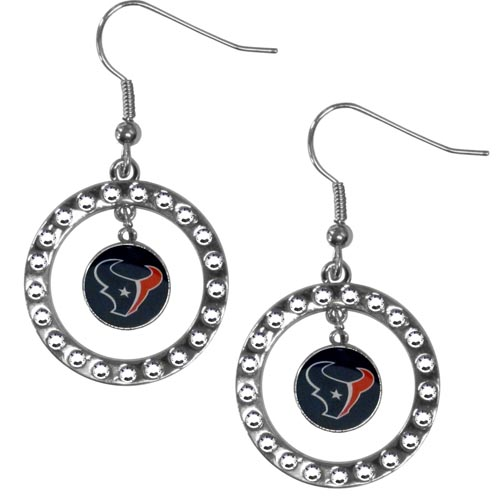 Houston Texans Rhinestone Hoop Earrings - Our officially licensed NFL rhinestone hoop earrings comes on an hypo-allergenic fishhook posts  and features a hoop covered in rhinestones with a high polish chrome finish and a Chicago Bears logo dangling in the center. Officially licensed NFL product Licensee: Siskiyou Buckle .com