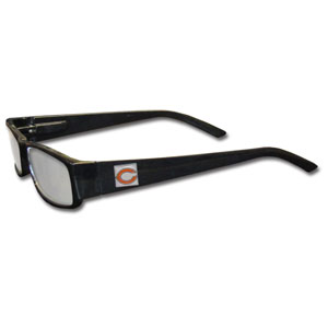 "Chicago Bears NFL Reading Glasses +2.25 - Our Chicago Bears NFL readers glasses are 5.25"" wide with 5.5"" arms with black frames featuring the Chicago Bears logo on each arm. Power +2.25 Officially licensed NFL product Licensee: Siskiyou Buckle .com"
