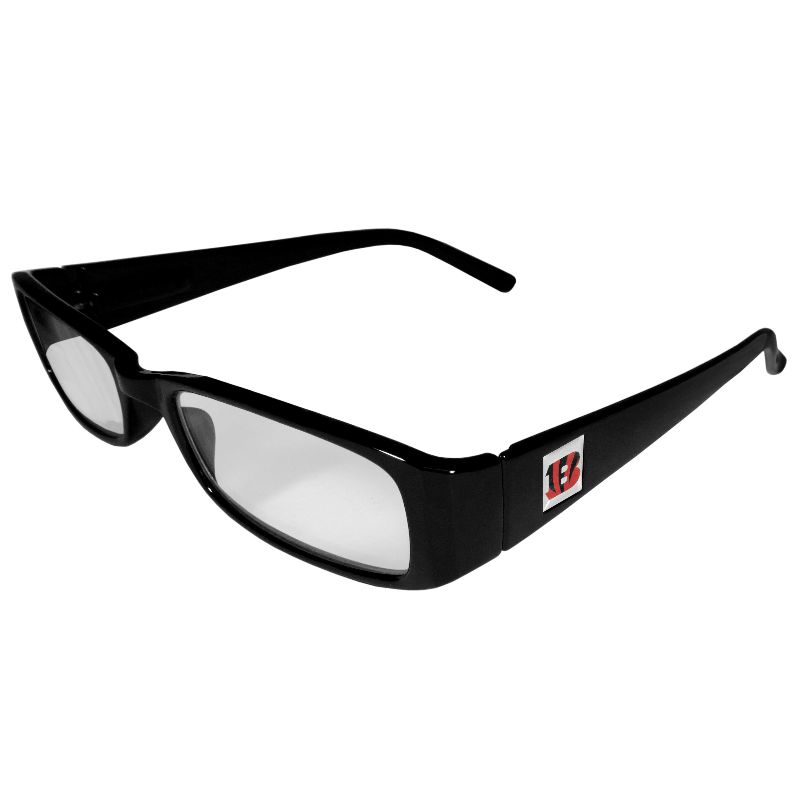 Cincinnati Bengals Black Reading Glasses +1.25 - Our Cincinnati Bengals reading glasses are 5.25 inches wide and feature the team logo on each arm. Magnification Power 1.25