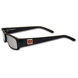 "Cincinnati Bengals NFL Reading Glasses - These Cincinnati Bengals NFL reading glasses are 5.25"" wide with 5.5"" arms with black frames featuring the Cincinnati Bengals logo on each arm. Power +1.25 Officially licensed NFL product Licensee: Siskiyou Buckle .com"