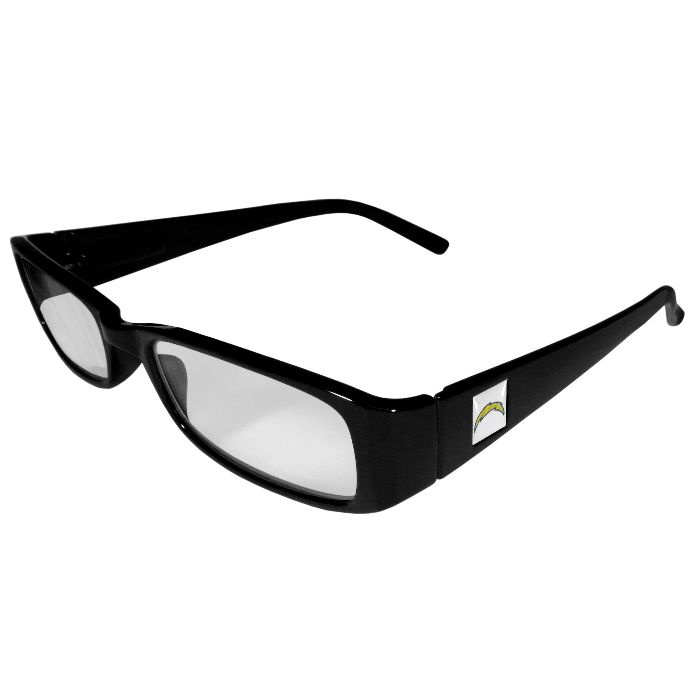 Los Angeles Chargers Black Reading Glasses +1.25 - Our Los Angeles Chargers reading glasses are 5.25 inches wide and feature the team logo on each arm. Magnification Power 1.25