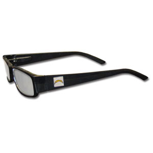 "San Diego Chargers NFL Reading Glasses  - Our San Diego Chargers NFL readers glasses are 5.25"" wide with 5.5"" arms with black frames featuring the San Diego Chargers logo on each arm. Officially licensed NFL product Licensee: Siskiyou Buckle .com"