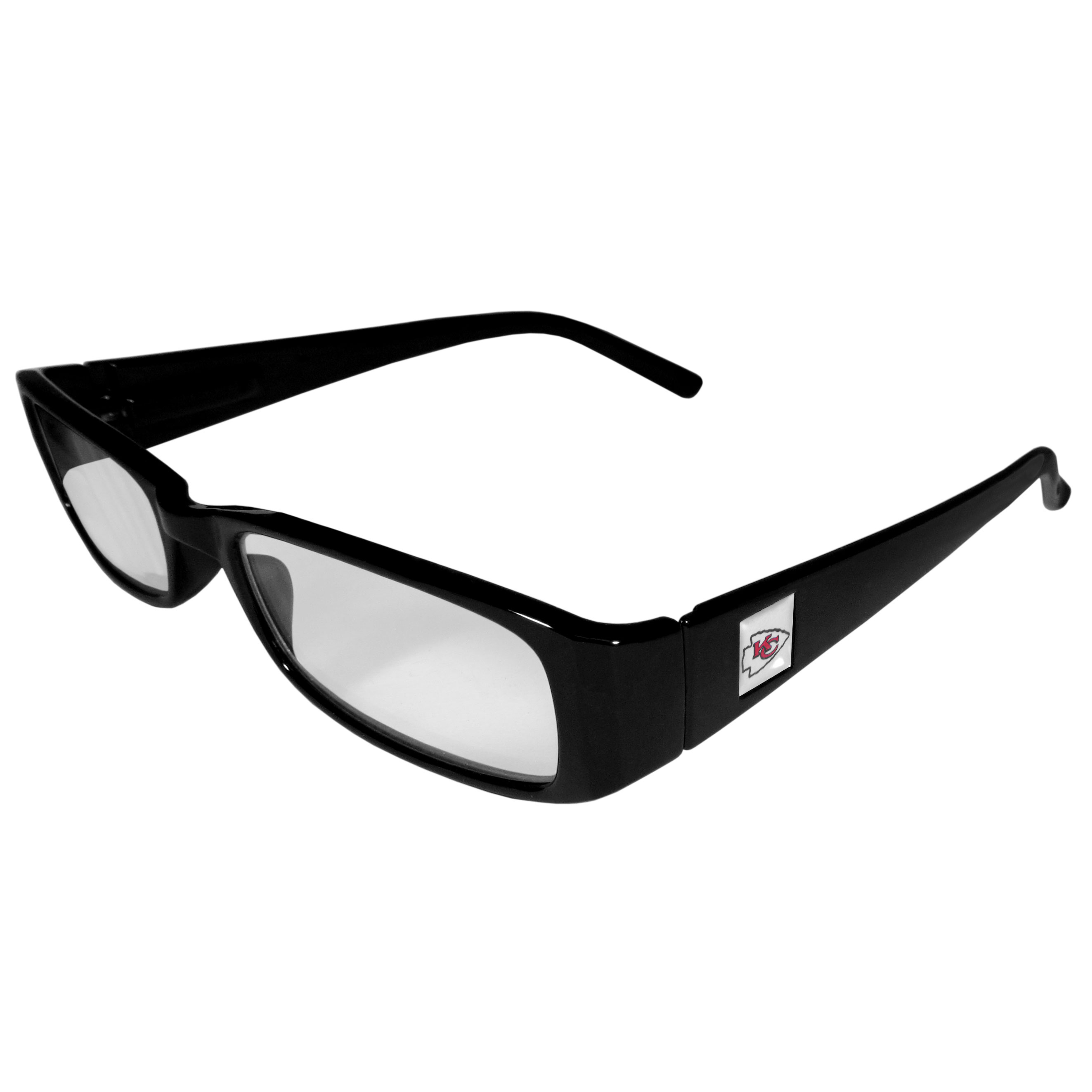 Kansas City Chiefs Black Reading Glasses +1.25 - Our Kansas City Chiefs reading glasses are 5.25 inches wide and feature the team logo on each arm. Magnification Power 1.25