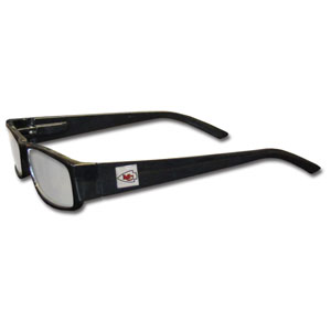 "Kansas City Chiefs NFL Reading Glasses  - These Kansas City Chiefs NFL reading glasses are 5.25"" wide with 5.5"" arms with black frames featuring the Kansas City Chiefs logo on each arm.Officially licensed NFL product Licensee: Siskiyou Buckle Thank you for visiting CrazedOutSports.com"