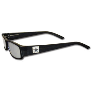"Dallas Cowboys NFL Reading Glasses  - These Dallas Cowboys NFL reading glasses are 5.25"" wide with 5.5"" arms with black frames featuring the Dallas Cowboys logo on each arm.Officially licensed NFL product Licensee: Siskiyou Buckle Thank you for visiting CrazedOutSports.com"