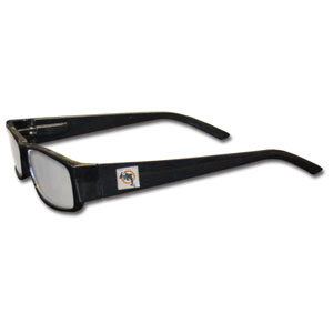 "Miami Dolphins NFL Reading Glasses  - These Miami Dolphins NFL reading glasses are 5.25"" wide with 5.5"" arms with black frames featuring the Miami Dolphins logo on each arm. Officially licensed NFL product Licensee: Siskiyou Buckle Thank you for visiting CrazedOutSports.com"