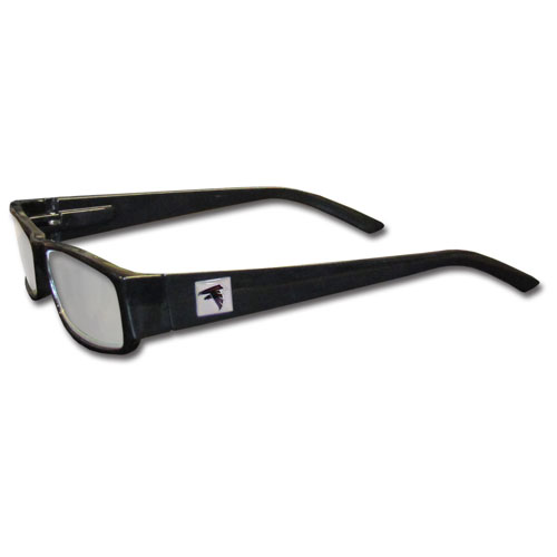 Atlanta Falcons Black Reading Glasses +1.25 - Our Atlanta Falcons reading glasses are 5.25 inches wide and feature the team logo on each arm. Magnification Power 1.25