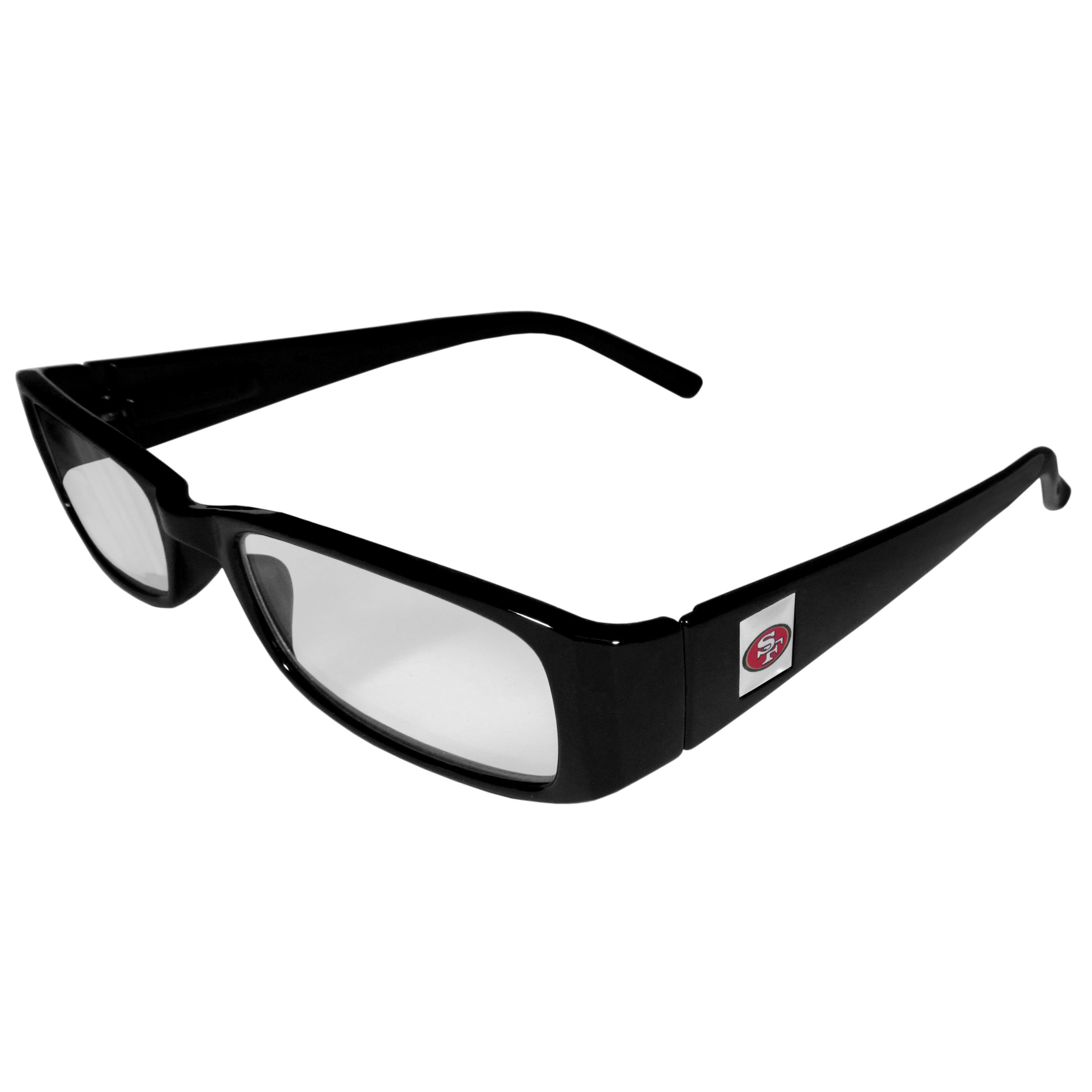 San Francisco 49ers Black Reading Glasses +1.25 - Our San Francisco 49ers reading glasses are 5.25 inches wide and feature the team logo on each arm. Magnification Power 1.25