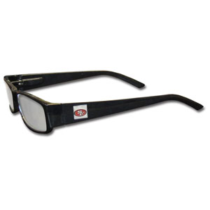 "San Francisco 49ers NFL Reading Glasses  - These San Francisco 49ers NFL reading glasses are 5.25"" wide with 5.5"" arms with black frames featuring the San Francisco 49ers logo on each arm. Officially licensed NFL product Licensee: Siskiyou Buckle .com"