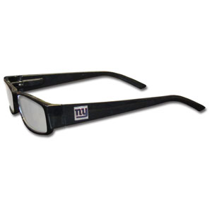 "New York Giants NFL Reading Glasses +1.25 - Our New York Giants NFL readers glasses are 5.25"" wide with 5.5"" arms with black frames featuring the New York Giants logo on each arm. Power +1.25 Officially licensed NFL product Licensee: Siskiyou Buckle .com"