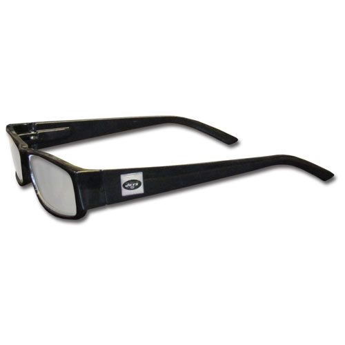 New York Jets Black Reading Glasses +1.25 - Our New York Jets reading glasses are 5.25 inches wide and feature the team logo on each arm. Magnification Power 1.25