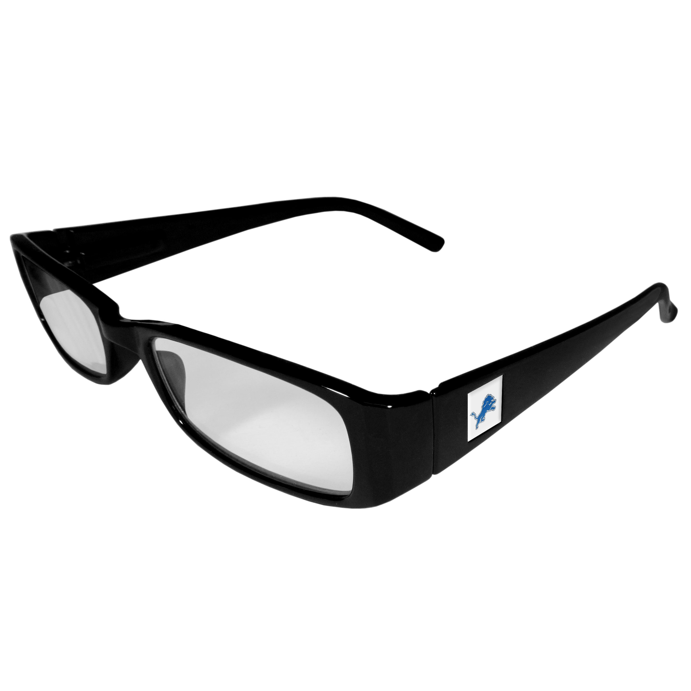 Detroit Lions Black Reading Glasses +1.25 - Our Detroit Lions reading glasses are 5.25 inches wide and feature the team logo on each arm. Magnification Power 1.25