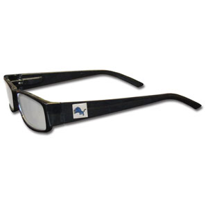 "Detroit Lions NFL Reading Glasses  - These Detroit Lions NFL reading glasses are 5.25"" wide with 5.5"" arms with black frames featuring the Detroit Lions logo on each arm. Officially licensed NFL product Licensee: Siskiyou Buckle .com"