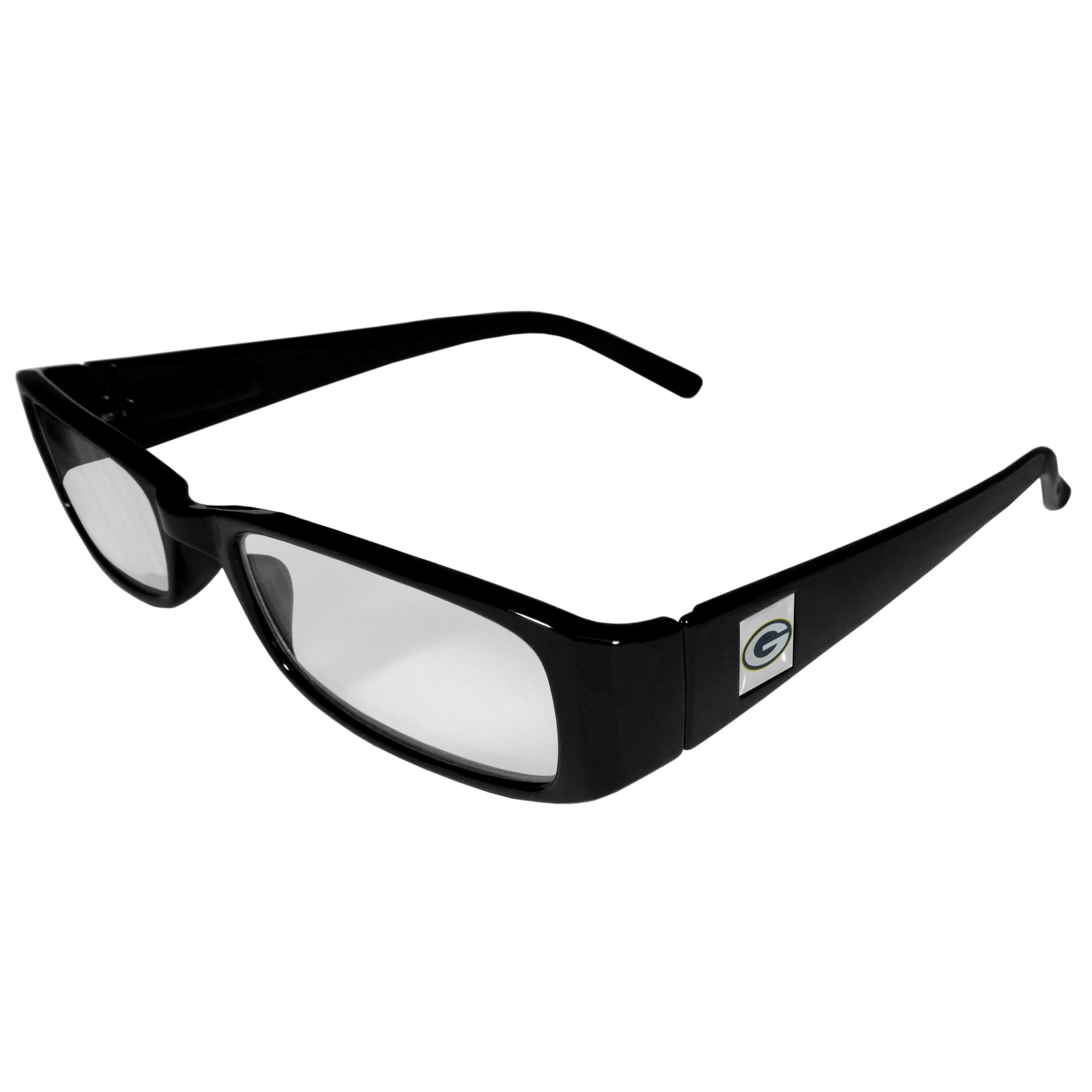 Green Bay Packers Black Reading Glasses +1.25 - Our Green Bay Packers reading glasses are 5.25 inches wide and feature the team logo on each arm. Magnification Power 1.25
