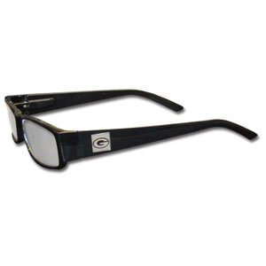 "Green Bay Packers NFL Reading Glasses  - These Green Bay Packers NFL reading glasses are 5.25"" wide with 5.5"" arms with black frames featuring the Green Bay Packers logo on each arm. Officially licensed NFL product Licensee: Siskiyou Buckle .com"