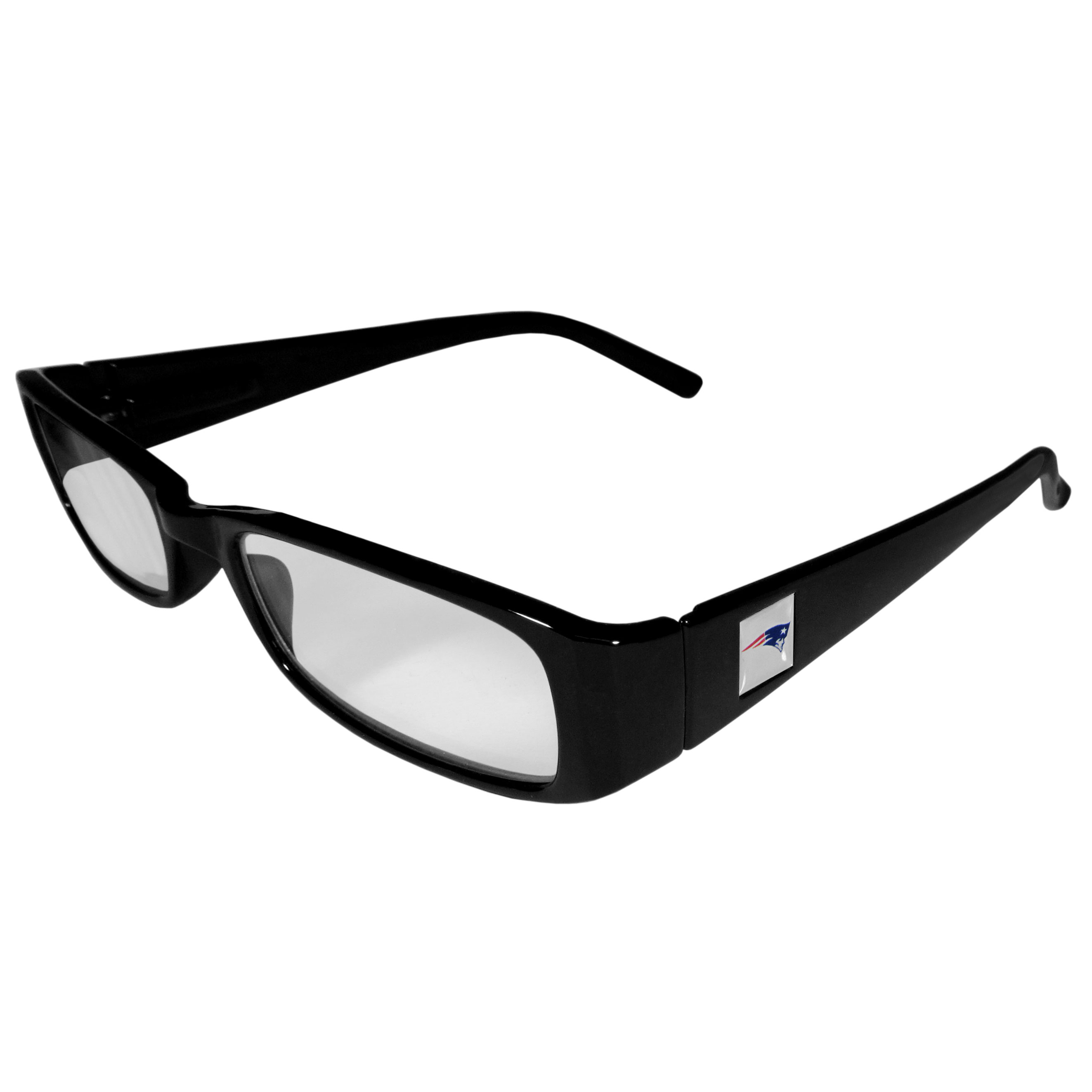 New England Patriots Black Reading Glasses +1.25 - Our New England Patriots reading glasses are 5.25 inches wide and feature the team logo on each arm. Magnification Power 1.25