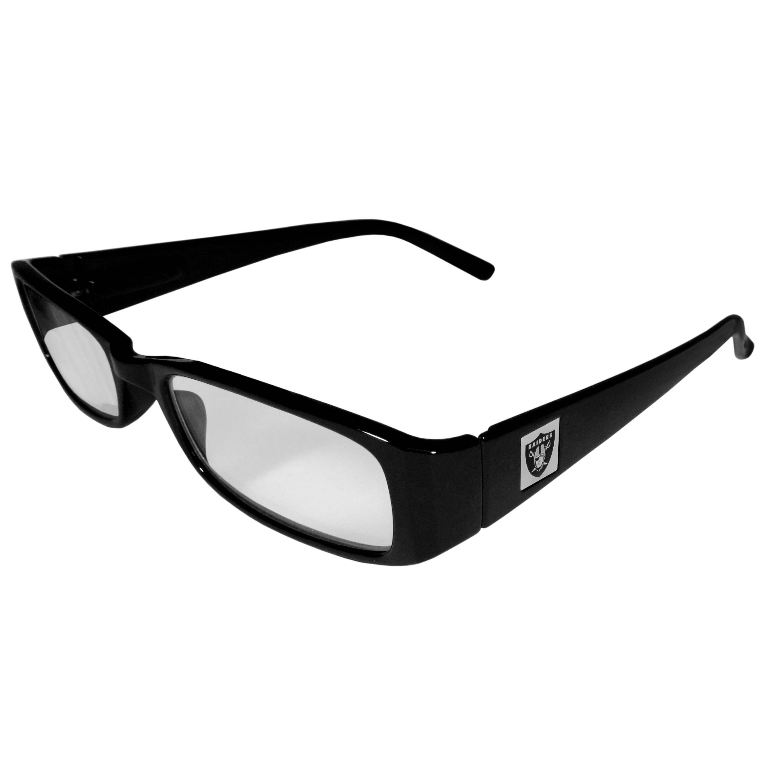 Oakland Raiders Black Reading Glasses +1.50 - Our Oakland Raiders reading glasses are 5.25 inches wide and feature the team logo on each arm. Magnification Power 1.50