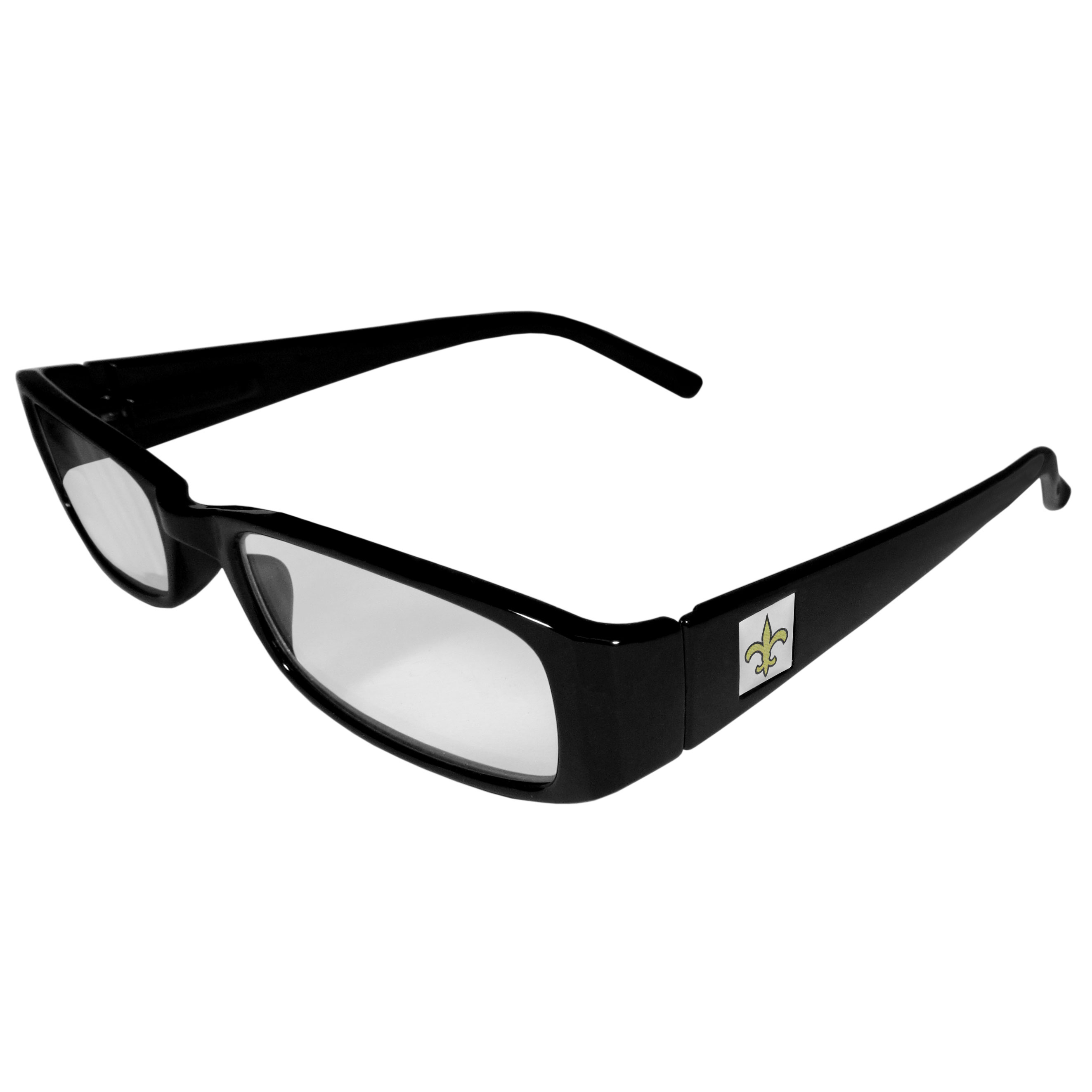 New Orleans Saints Black Reading Glasses +1.25 - Our New Orleans Saints reading glasses are 5.25 inches wide and feature the team logo on each arm. Magnification Power 1.25
