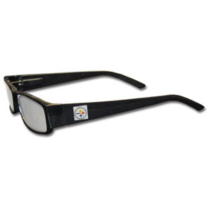 "Pittsburgh Steelers NFL Reading Glasses  - These Pittsburgh Steelers NFL readers glasses are 5.25"" wide with 5.5"" arms with black frames featuring the Pittsburgh Steelers logo on each arm. Officially licensed NFL product Licensee: Siskiyou Buckle .com"