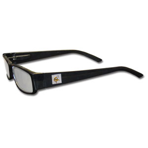 "Minnesota Vikings NFL Reading Glasses - These Minnesota Vikings NFL reading glasses are 5.25"" wide with 5.5"" arms with black frames featuring the Minnesota Vikings logo on each arm. Officially licensed NFL product Licensee: Siskiyou Buckle .com"