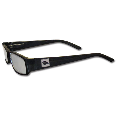 Carolina Panthers Black Reading Glasses +1.25 - Our Carolina Panthers reading glasses are 5.25 inches wide and feature the team logo on each arm. Magnification Power 1.25