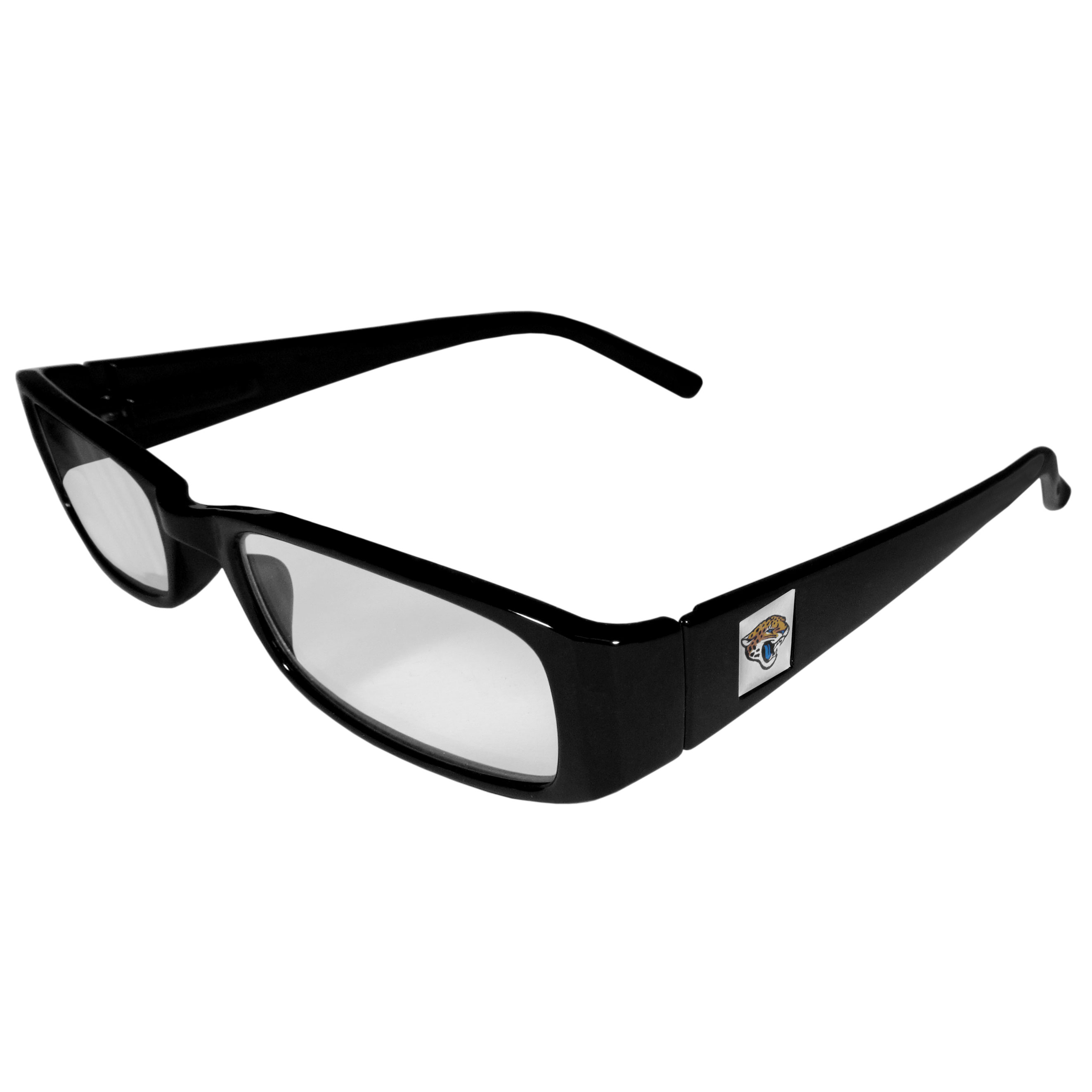 Jacksonville Jaguars Black Reading Glasses +1.25 - Our Jacksonville Jaguars reading glasses are 5.25 inches wide and feature the team logo on each arm. Magnification Power 1.25