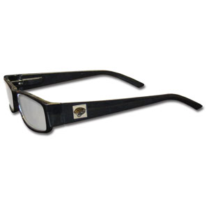 "Jacksonville Jaguars NFL Reading Glasses  - These Jacksonville Jaguars NFL reading glasses are 5.25"" wide with 5.5"" arms with black frames featuring the Jacksonville Jaguars logo on each arm. Officially licensed NFL product Licensee: Siskiyou Buckle Thank you for visiting CrazedOutSports.com"