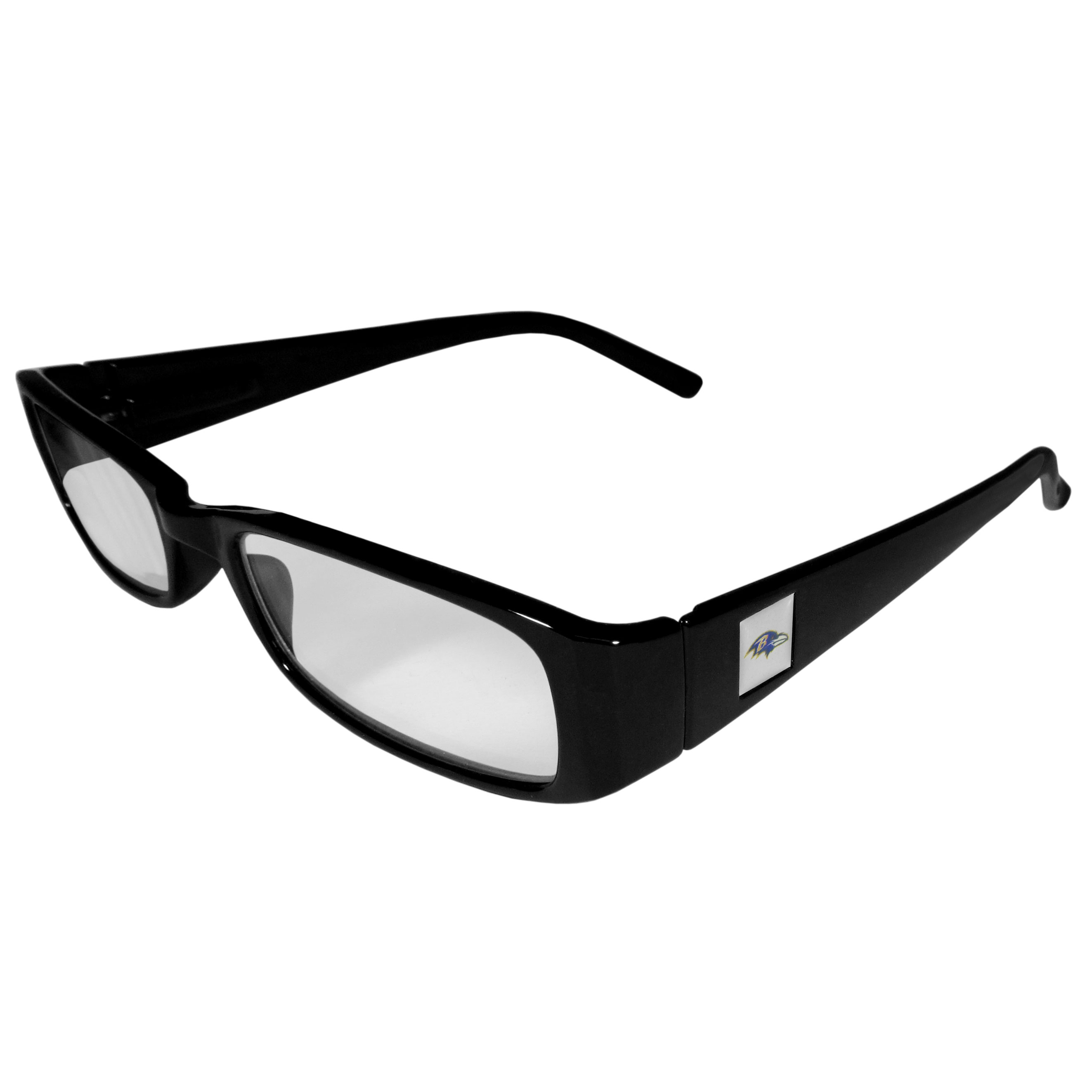 Baltimore Ravens Black Reading Glasses +1.25 - Our Baltimore Ravens reading glasses are 5.25 inches wide and feature the team logo on each arm. Magnification Power 1.25