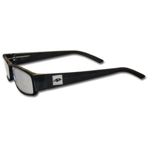 "Baltimore Ravens NFL Reading Glasses  - These Baltimore Ravens NFL reading glasses are 5.25"" wide with 5.5"" arms with black frames featuring the Baltimore Ravens logo on each arm. Officially licensed NFL product Licensee: Siskiyou Buckle Thank you for visiting CrazedOutSports.com"