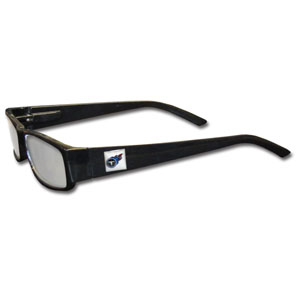 "Tennessee Titans NFL Reading Glasses  - These Tennessee Titans NFL reading glasses are 5.25"" wide with 5.5"" arms with black frames featuring the Tennessee Titans logo on each arm. Officially licensed NFL product Licensee: Siskiyou Buckle .com"