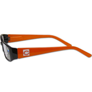 "Chicago Bears NFL Reading Glasses +1.50 - Our Chicago Bears NFL readers glasses are 5.25"" wide with 5.5"" arms with team colored frames featuring the Chicago Bears team logo on each arm. Power +1.50 Officially licensed NFL product Licensee: Siskiyou Buckle .com"