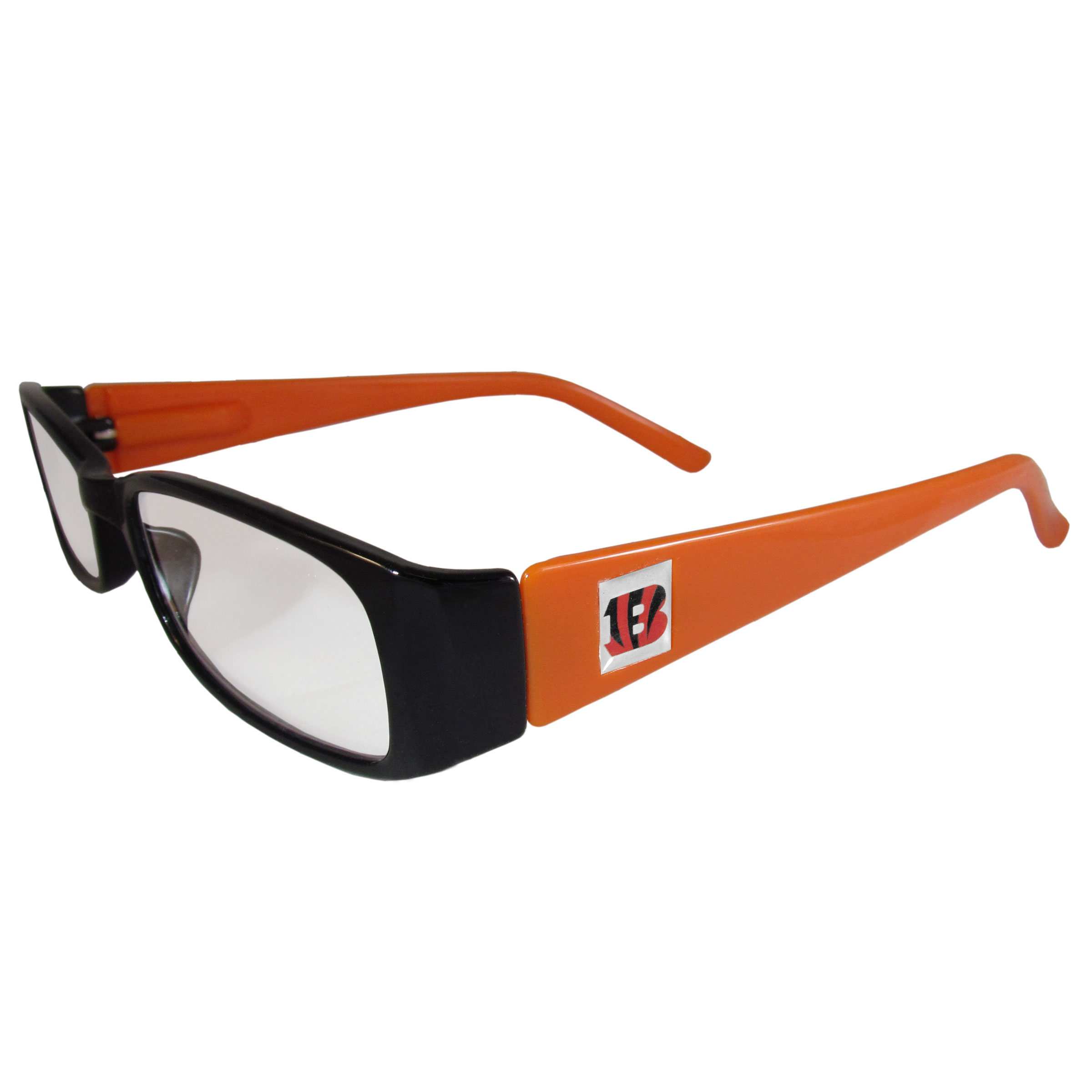 Cincinnati Bengals Reading Glasses +1.25 - Our Cincinnati Bengals reading glasses are 5.25 inches wide and feature the team logo on each arm. Magnification Power 1.25