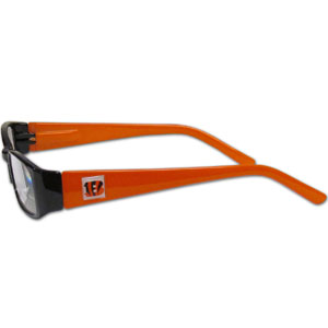 "Cincinnati Bengals NFL Reading Glasses  - These Cincinnati Bengals NFL reading glasses are 5.25"" wide with 5.5"" arms with Cincinnati Bengals colored frames featuring the Cincinnati Bengals logo on each arm. Officially licensed NFL product Licensee: Siskiyou Buckle .com"