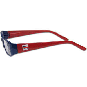 "Buffalo Bills NFL Reading Glasses  - These Buffalo Bills NFL reading glasses are 5.25"" wide with 5.5"" arms with Buffalo Bills colored frames featuring the Buffalo Bills logo on each arm. Officially licensed NFL product Licensee: Siskiyou Buckle .com"