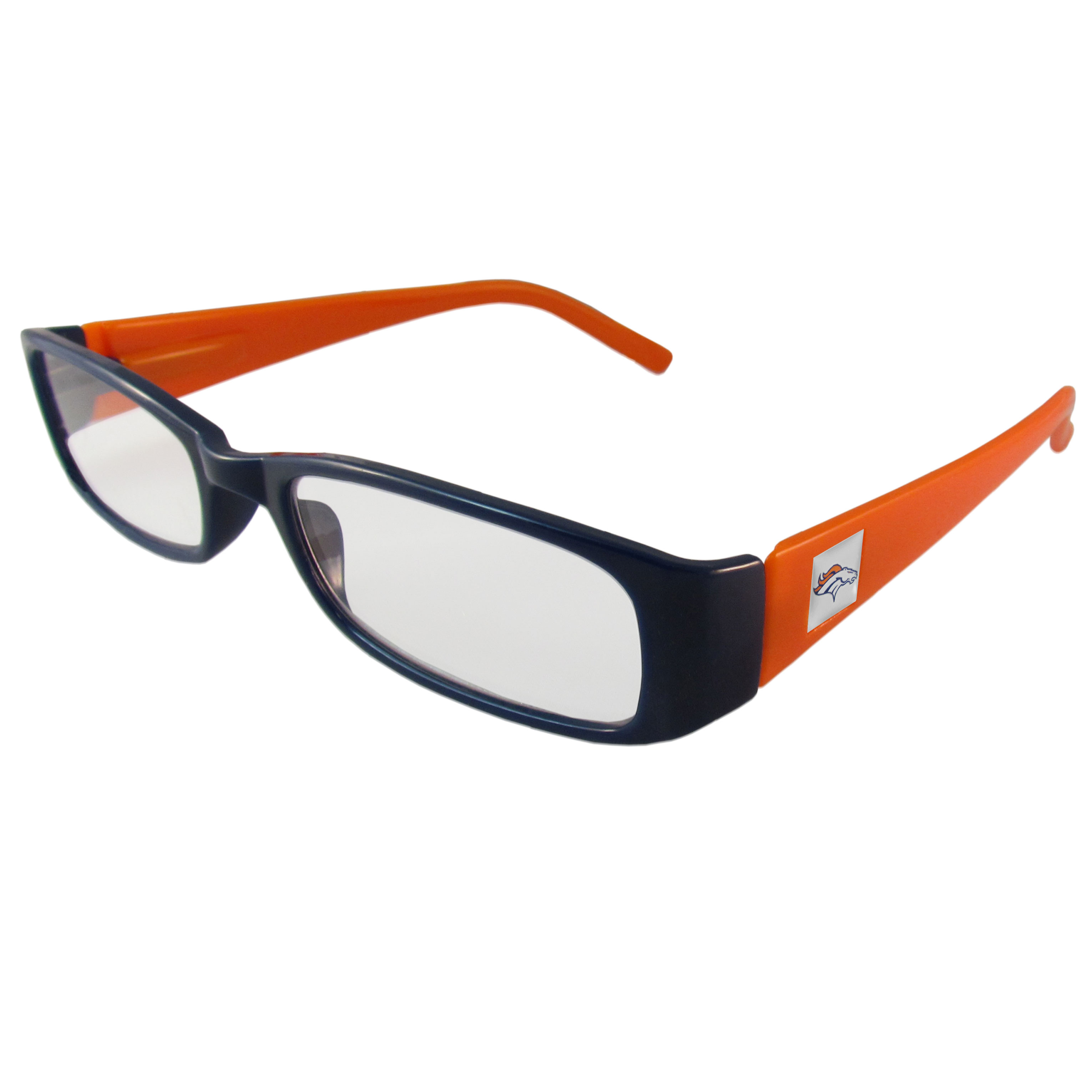 Denver Broncos Reading Glasses +1.25 - Our Denver Broncos reading glasses are 5.25 inches wide and feature the team logo on each arm. Magnification Power 1.25