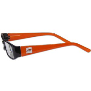 "Denver Broncos NFL Reading Glasses  - These Denver Broncos NFL reading glasses are 5.25"" wide with 5.5"" arms with Denver Broncos colored frames featuring the Denver Broncos logo on each arm. Officially licensed NFL product Licensee: Siskiyou Buckle Thank you for visiting CrazedOutSports.com"